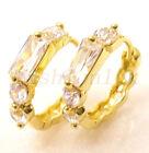 De mujer 14K Chapado En Oro Transparente Diamante Sintético Pendientes De Aro