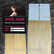 "20pcs 22"" Remy Seamless Tape Skin Weft Human Hair Extensions Light Blonde #9"