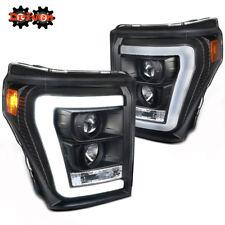 11-16 Ford F250 F350 Super Duty Matte Black Projector Headlight w/Tube C DRL