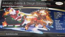 New Santa, Sleigh and reindeer  Christmas Xmas Lights Indoor Mesh Silhouette