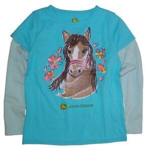 NEW John Deere Girls Turquoise Blue Horse Flower L/S T-Shirt 4, 5