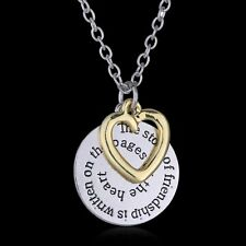 Two Side disc Engraved Letter BFF Best Friend Jewelry Gift Pendant Necklace New
