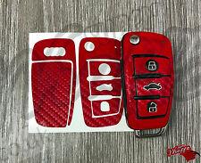 RED CARBON Key Wrap Cover Case Skin Audi Remote A1 A3 A4 A5 A6 A8 TT Q3 Q5 Q7