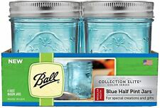 Ball Regular Mouth Elite Collection Half Pint Mason Jars with Lids & Band 4 Pack