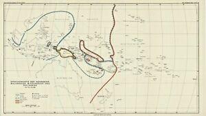 1942 Petermann map: Polynesian, Melanesian Micronesian &  Indonesian languages