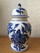 """More details for large blue and white chinese vase/ temple jar 13"""" tall chinoiserie oka style"""