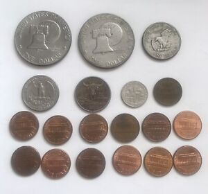 Job Lot of Mixed American Coins US Currency Circulated Money 19 Coins