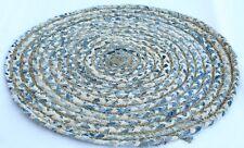 "33 "" Braided Spiral Hand-Weaved Reversible Jute Cotton Round Area Rug/Floor Mat"