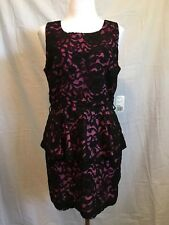 Forever 21 Black/pink lacy dress-L-Tiered/back zip-Cotton/Nylon- New w/tags