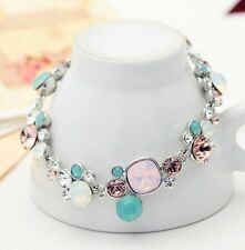 Pretty pastel pink & sea green crystal round stone cluster statement bracelet