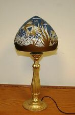 """FRENCH REPRODUCTION ACID ETCHED CAMEO GLASS """"DAUM NANCY"""" TABLE LAMP / BRONZ BASE"""