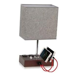Fully Dimmable Table Lamp for Bedroom Dual USB Port -  Bedside Lamp Mocha/Grey