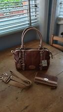 BNWT Vintage Fossil Maddox Satchel saddle brown with matching wallet