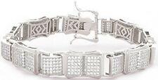 Sterling Silver Men's Silver-Tone Cz Cubic Zirconium Fancy Link Bracelet MSB2