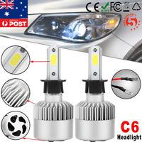 2x H3 72W 8000LM COB LED Headlight Kit Hi/Lo Beam Globe Bulbs Xenon White Lamp