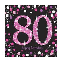 16pk Pink Sparkling Celebration 80th Birthday  Luncheon Napkins 33cm