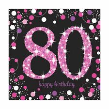 16pk Pink Sparkling Celebration 80th Birthday  Luncheon Napkins 33cm