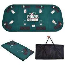 Folding Four Fold 8 Player Poker Table Top & Carrying Case Portable Green