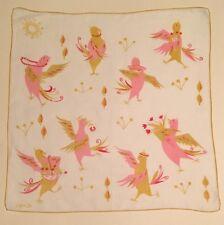 Vintage Linen Hanky Handkerchief Virginia Zito Birds Dancing Pink Yellow