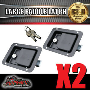 x2 Large Paddle Handle Lock Latch Black Powdercoated Caravan Ute Truck Toolbox