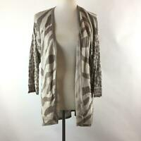 Chico's Womens Cardigan Sweater Size 0 Multicolor Animal Printed Open Front