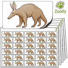 480 Aardvark Stickers (38 x 21mm) Quality Self Adhesive Animal Labels By Zooify.