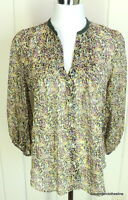 Fei Anthropologie 8 100% Silk Abstract Semi Sheer Peasant Career Weekend Blouse