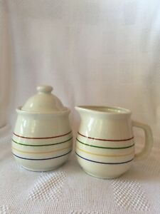 "Vintage? Rainbow Striped 3.5"" And 5"" Cream And Sugar Unmarked"