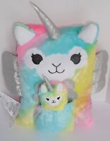 Justice LLamacorn Plush Throw Pouch Pillow Rainbow Pink Blue Yellow New