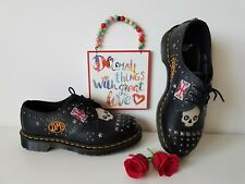 Martens black skull stud lace up rockabilly 1461 UK 6.5 EU 40 US 8.5