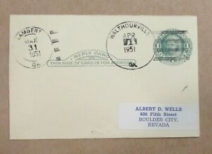 """DPO POSTAL CARD LAST DAY of POST OFFICE """"WALTHOURVILLE, GEORGIA"""" 1951 See Pic"""