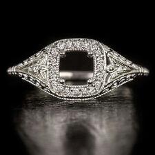VINTAGE DIAMOND SEMI-MOUNT CUSHION ROUND ENGAGEMENT RING COCKTAIL FILIGREE HALO