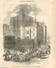 Reine Elisabeth d'Angleterre au Château de Kenilworth GRAVURE ANTIQUE PRINT 1854