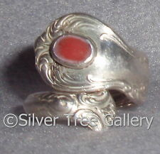 Vintage Towle 1942 Old Master Elegant Pattern Sterling Silver Coral Spoon Ring
