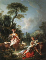 Beautiful Oil painting francois boucher A Summer Pastoral shepherdess sheep cows
