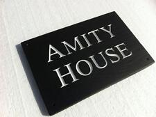 10mm Natural Riven Slate House Sign Deeply Engraved To Your Requirements