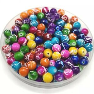 100pcs Multicolor Round Colorful Acrylic Beads Spacer Beads For Necklace DIY