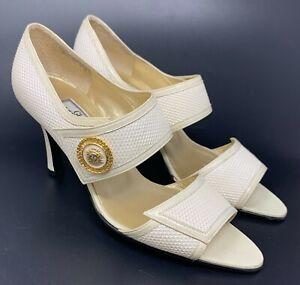 Authentic GIANNI VERSACE Vintage Sun Motif Sandals Heels #36 US 7.5 White Gold