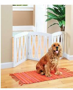 3 Panel White Waves Wooden Pet Gate - Freestanding Stair / Doorway Barrier Fence