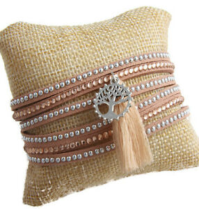 Tan Faux Suede Wrap around Bracelet Silver Amber studs and Tree of Life Charm