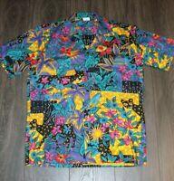 Vintage Hilo Hattie Floral Hawaiian Shirt SMALL 100% Cotton