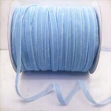 "New 5 yards 3/8""10mm Light blue Velvet Ribbon Headband Clips Bow Craft supplies"