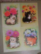 Set Of 4 K Chin Litho Art Cat Prints Kittens Wildflowers B.P. Co. Litho USA