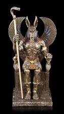 ANUBIS Figura sentado en Trono - Dios Estatua VERONESE Bronceada Decoración