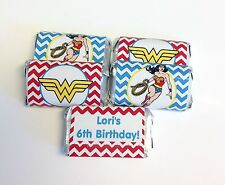 50 WONDER WOMAN PERSONALIZED MINI CANDY BAR WRAPPERS PARTY FAVORS