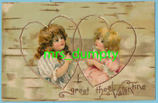 Valentine'S Day ~ Girls Draw Hearts ~ Early Chromo Harriet Bennett (?) Style Pc