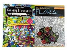 Artwork Gallery & Flowers Adult Kids Coloring Book Music Series Books 2 Pack NEW