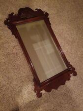 "Huge Vintage Cherry Wood Chippendale Beveled Hallway Mirror 52"" x 28"""