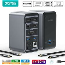 CHOETECH 15 in 1 USB C Laptop Docking Station 3x HDMI 4k Video Output 1000mbps