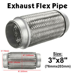3'' ID 8'' Long Exhaust Flex Bellow Pipe Joint Stainless Flexible Double Braided